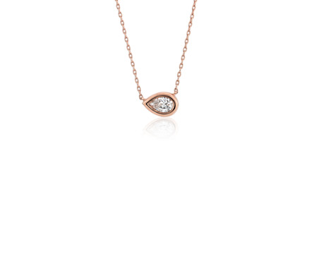 Bezel Set Pear Cut Diamond Pendant in 14k Rose Gold (1/5 ct. tw.)
