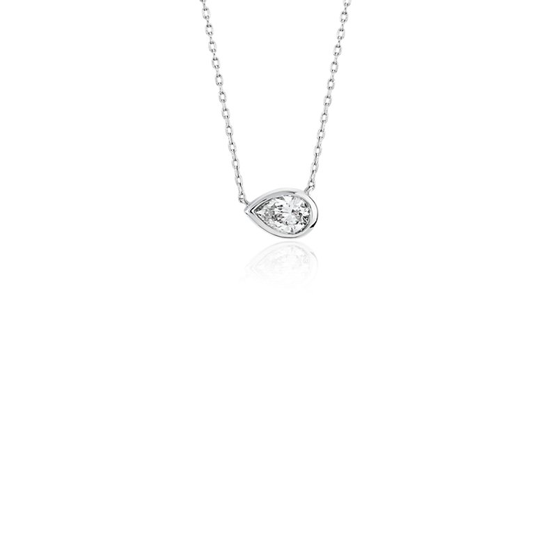 Bezel Set Pear-Shaped Diamond Pendant in 14k White Gold (1/5 ct.