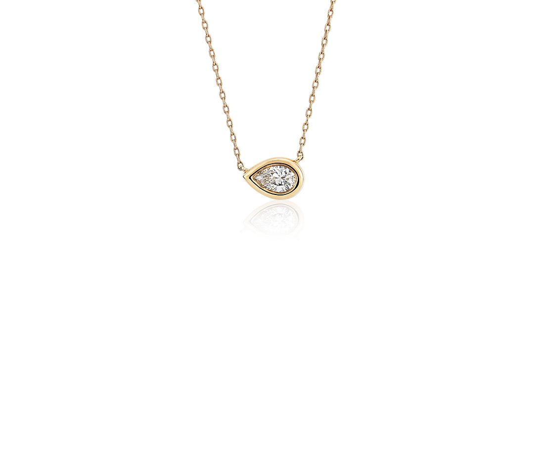 Bezel Set Pear Cut Diamond Pendant in 14k Yellow Gold (0.20 ct. tw.)