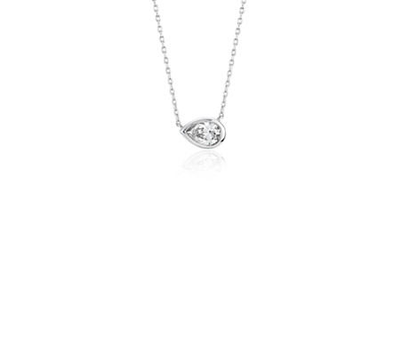 Bezel Set Pear-Shaped Diamond Pendant in 14k White Gold (1/5 ct. tw.)
