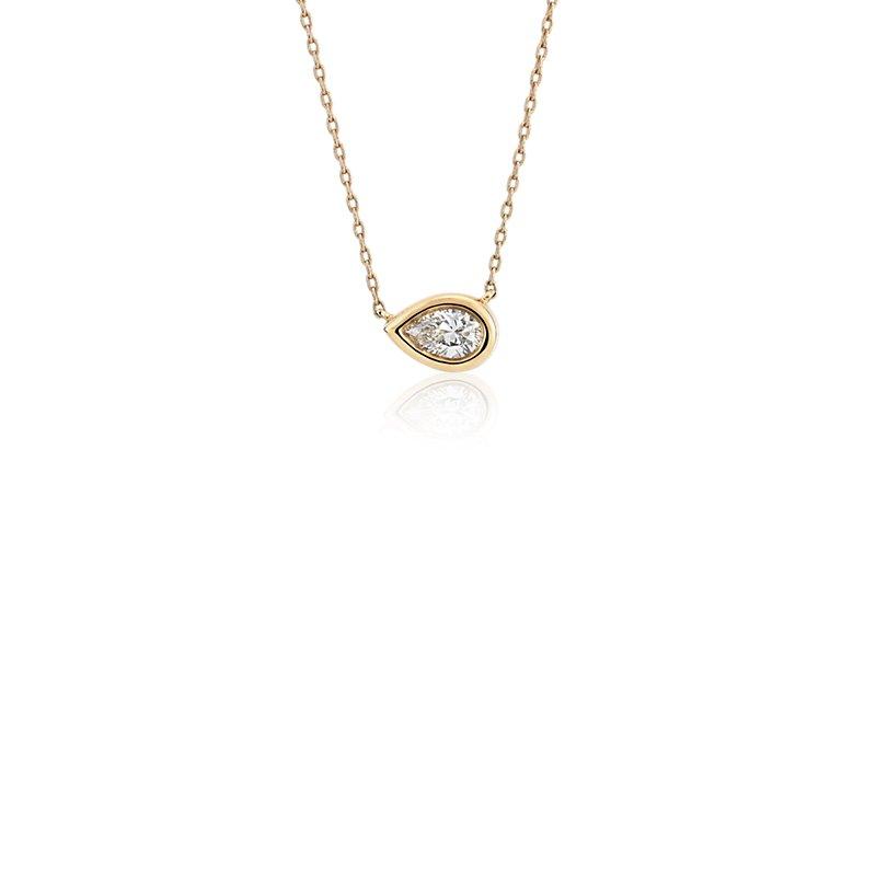 Bezel Set Pear-Shaped Diamond Pendant in 14k Yellow Gold (1/5 ct.