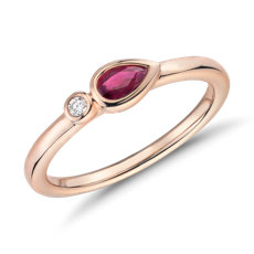 Bezel-Set Pear-Shaped Ruby and Diamond Stacking Ring in 14k Rose Gold (3x5mm)