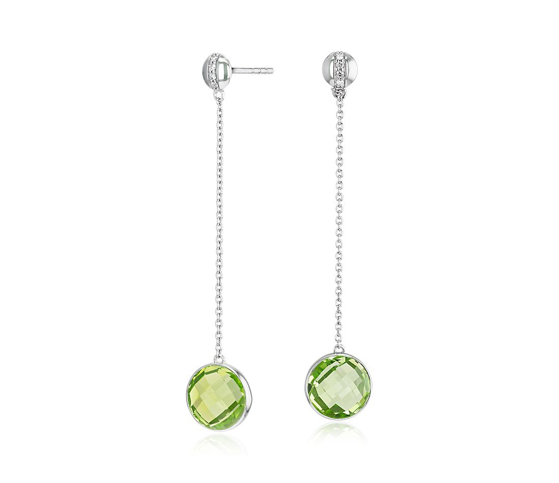 Bezel-Set Peridot Drop Earring with Diamond Stripe in 14k White Gold (8mm)