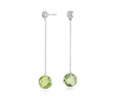 Blue Nile Bezel-Set Peridot Drop Earring with Diamond Stripe in 14k White Gold (8mm) yUvwwC