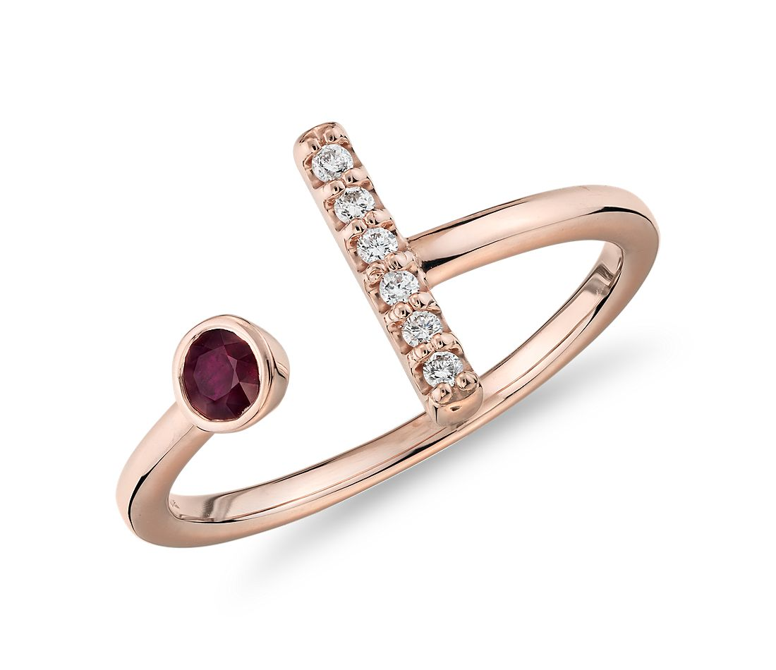Bezel-Set Ruby and Diamond Bar Ring in 14k Rose Gold (3mm)