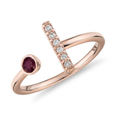 Bague rubis serti clos et barre de diamants en or rose 14carats (3mm)