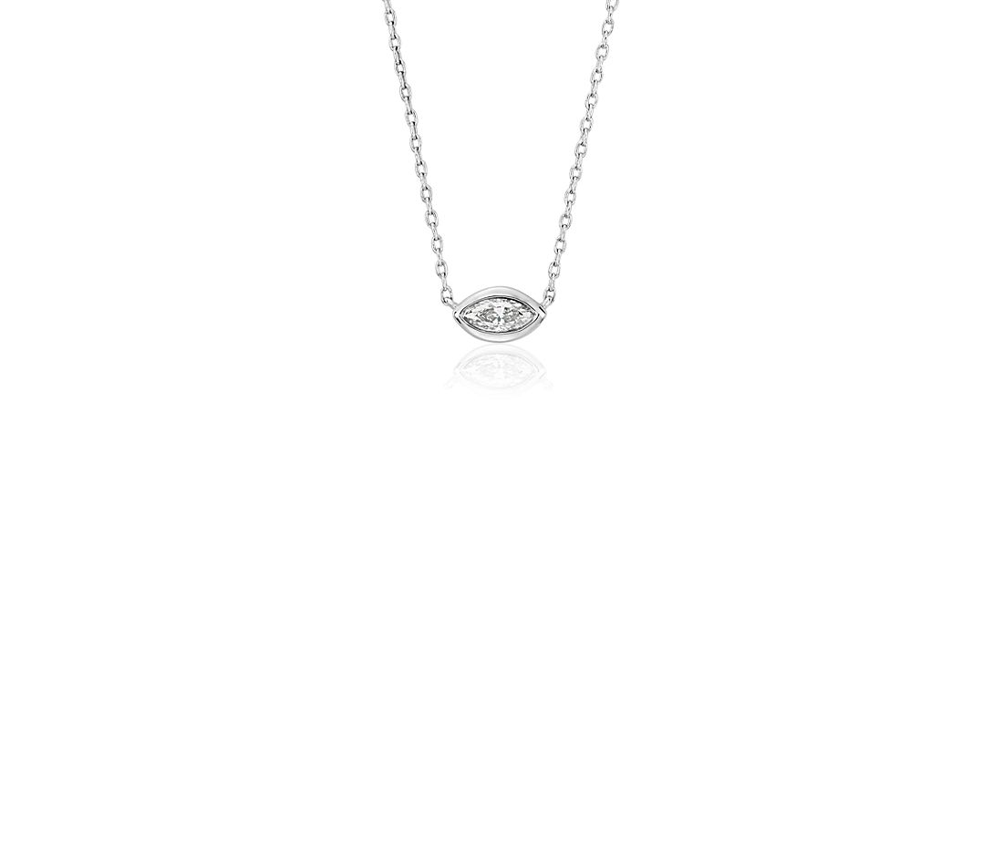 Bezel Set Stationed Marquise Diamond Necklace in 14k White Gold (0.31 ct. tw.)