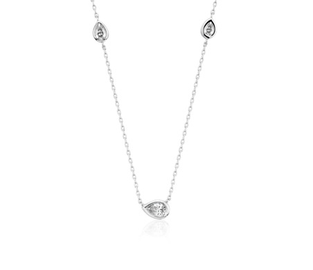 Bezel Set Stationed Pear Diamond Necklace in 14k White Gold