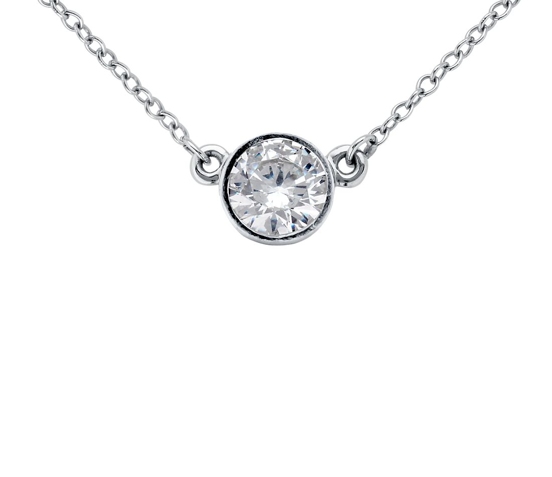 Bezel Set Solitaire Pendant Setting in 14k White Gold  392c38dff
