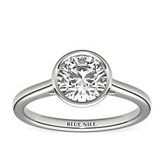 鉑金包邊鑲單石訂婚戒指