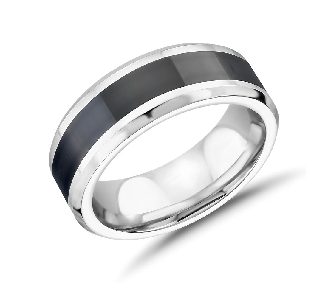 Black Ceramic Centre Inlay Wedding Band in Cobalt (7mm)