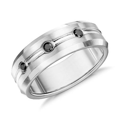Matte Black Diamond Wedding Ring in Cobalt 75mm Blue Nile