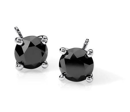 Black Diamond Stud Earrings in Sterling Silver (2 ct. tw.)