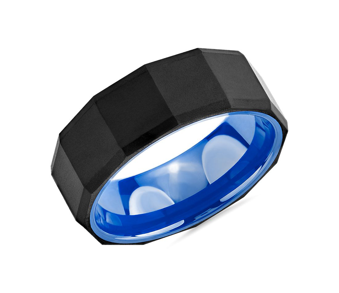 Black Faceted Wedding Ring in Tungsten and Blue Ceramic (8mm)