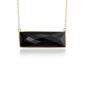 Black Onyx Bezel Bar Necklace in 14k Yellow Gold (9x28mm)