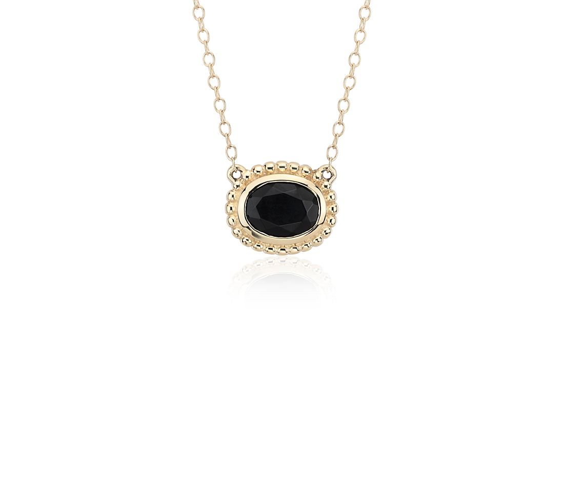 black onyx bezel necklace in 14k yellow gold 8x6mm