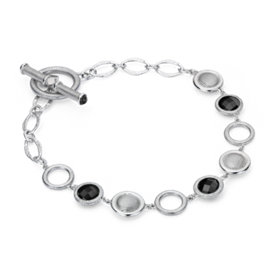 Frances Gadbois Black Onyx Disc Links Bracelet in Sterling Silver (6mm)
