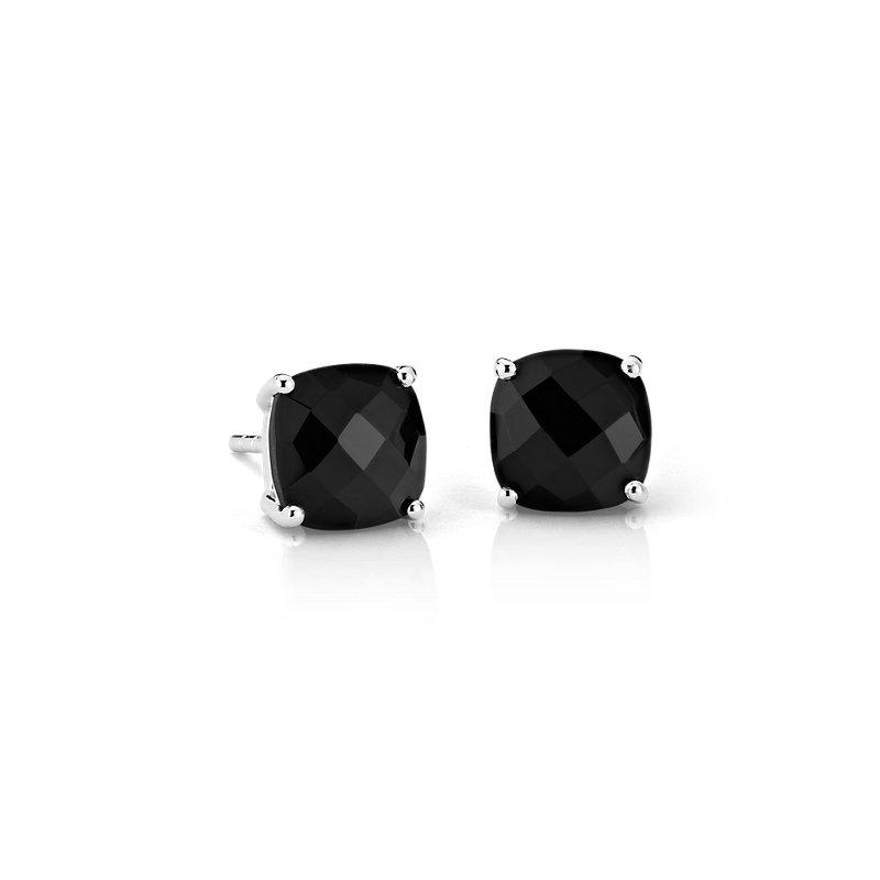 Black Onyx Cushion Earrings in Sterling Silver (8mm)