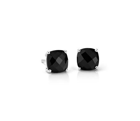 925 純銀 黑縞瑪瑙墊形耳環<br>( 8毫米)