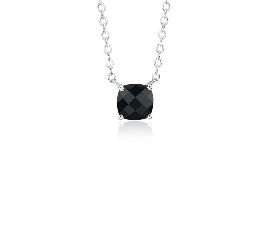 Black Onyx Cushion Pendant in Sterling Silver (8mm)