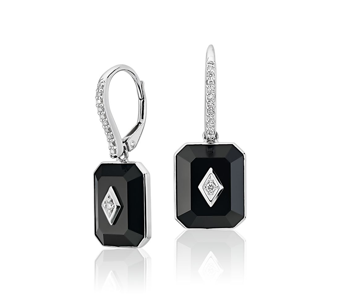 Blue Nile Studio Black Onyx and Diamond Drop Earrings in 18k White Gold
