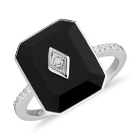 Blue Nile Studio Black Onyx and Diamond Ring in 18k White Gold