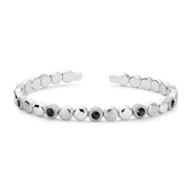 Frances Gadbois Black Onyx Narrow Disc Cuff Bracelet in Sterling Silver (3.2mm)