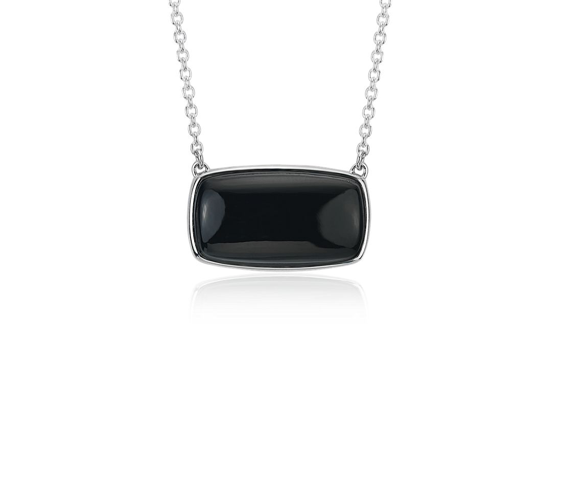 Black Onyx Necklace in Sterling Silver (10x16mm)