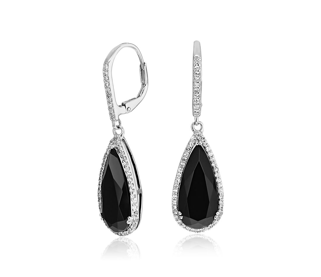 Pear Shaped Black Onyx Drop Earrings With White Topaz Halo In Sterling Silver 18x8mm