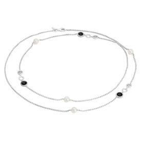 Frances Gadbois Long Pearl and Black Onyx Disc Station Necklace in Sterling Silver (7mm)