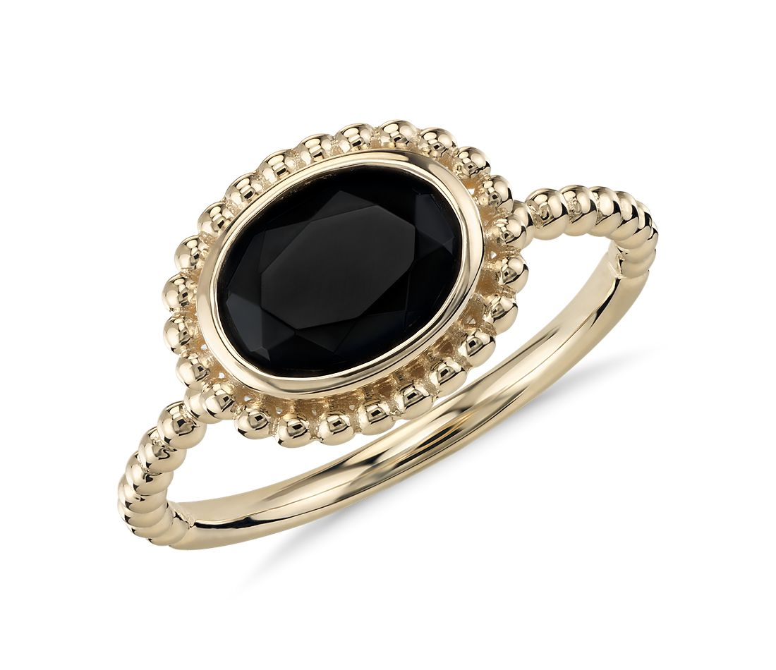 Black Onyx Beaded Ring in 14k Yellow Gold (8x6mm)