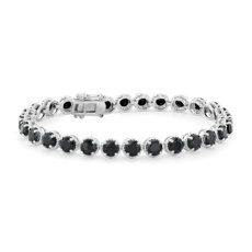 Black Onyx Round Rope Bracelet in Sterling Silver (5mm)