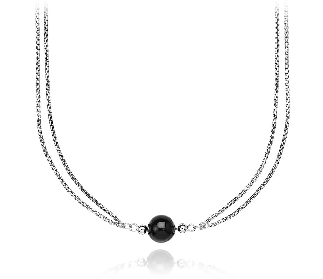 "Black Onyx and Sterling Silver Bead Necklace - 34"" Long"