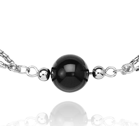 Collar de abalorios de ónix negro y plata de ley - 34