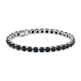 Round Black Onyx Bracelet in Sterling Silver (5mm)