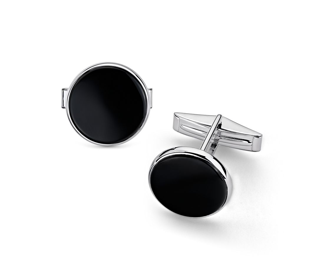Round Onyx Cuff Links in Sterling Silver