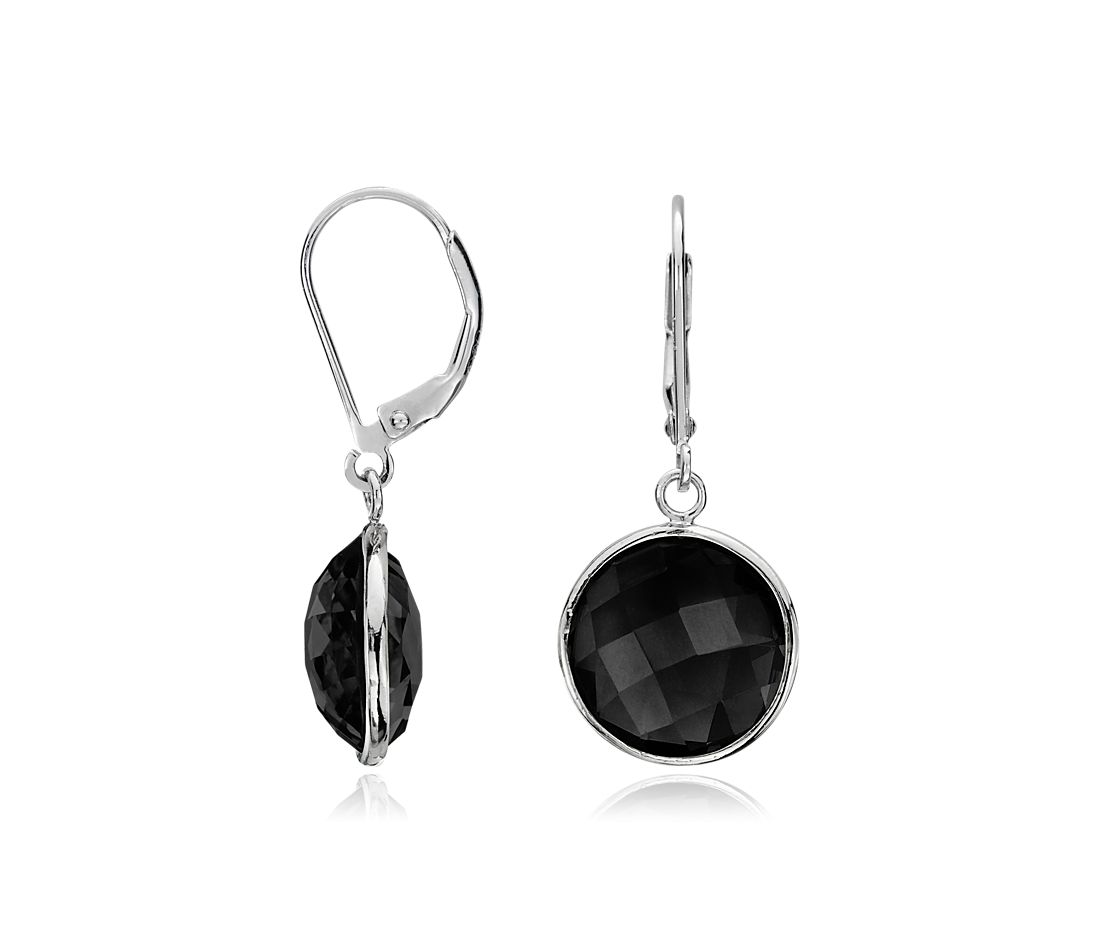 Faceted Black Onyx Drop Earrings in Sterling Silver
