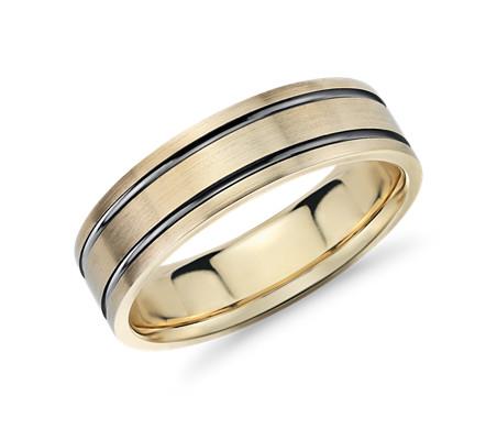 14k 黃金 黑銠鑲嵌結婚戒指<br>( 7毫米)
