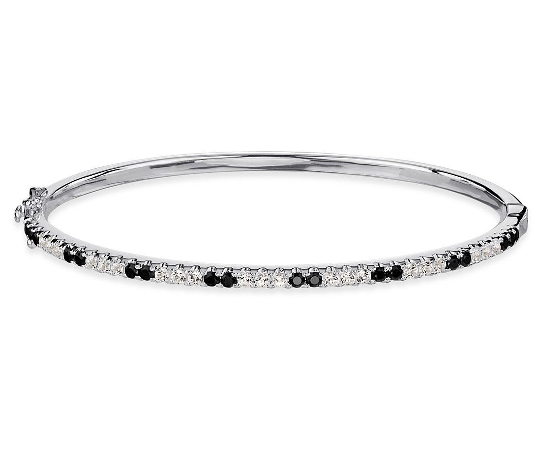 Black Spinel and White Topaz Bracelet in Sterling Silver