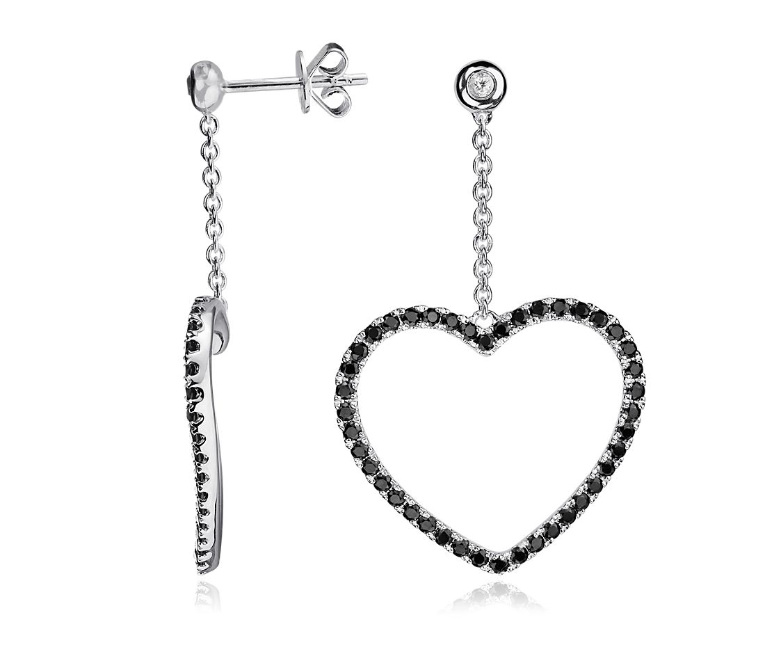 Black Spinel and White Topaz Heart Earrings in Sterling
