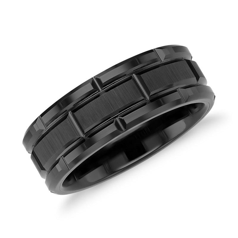 Link Wedding Band in Black Tungsten Carbide (8mm)