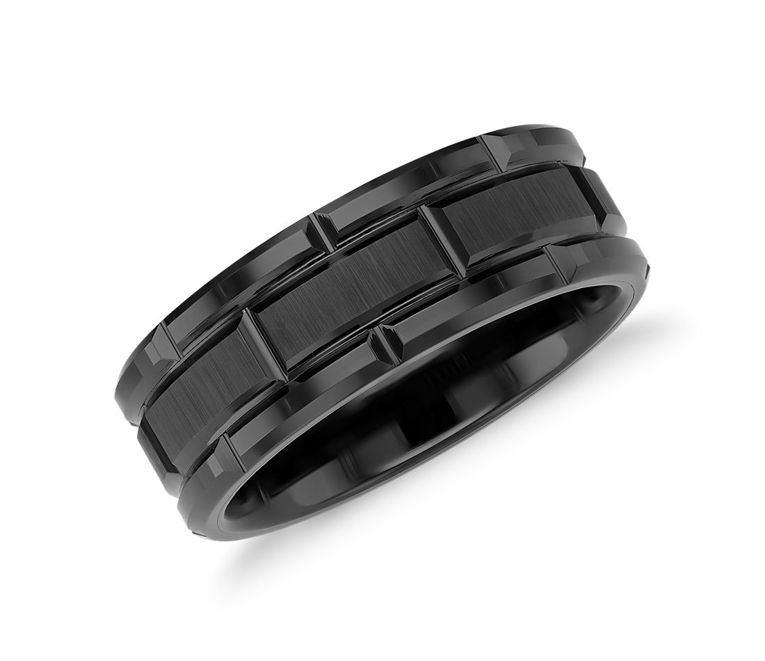 Link Wedding Band in Black Tungsten Carbide (8mm)