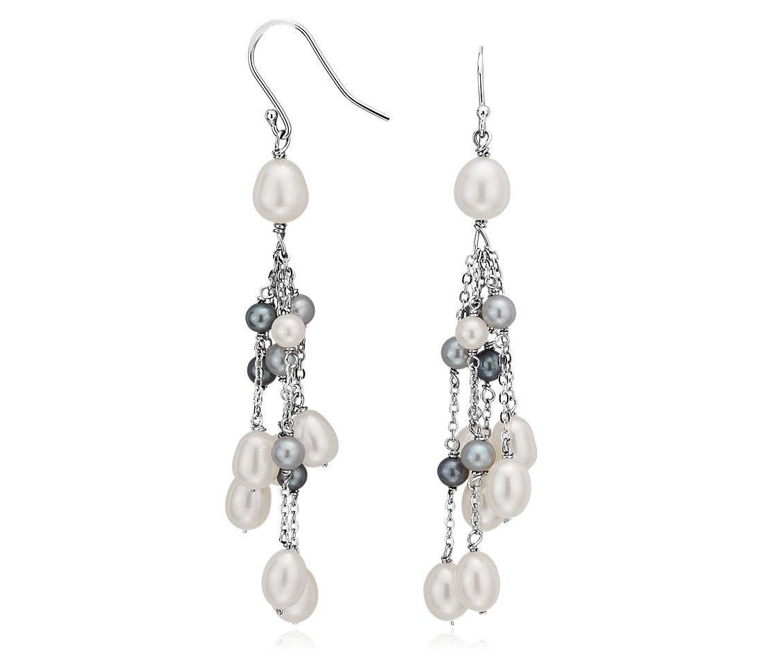 Black and White Freshwater Cultured Pearl Earrings in