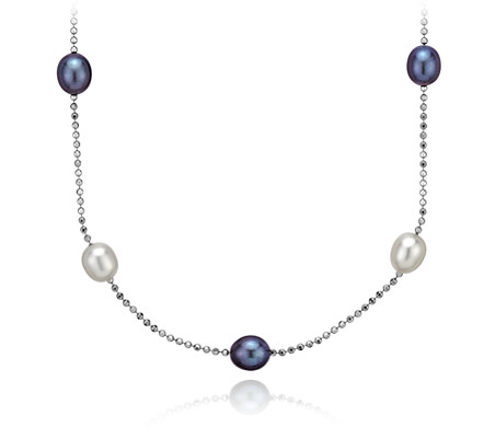 Black and White Freshwater Cultured Pearl Necklace in