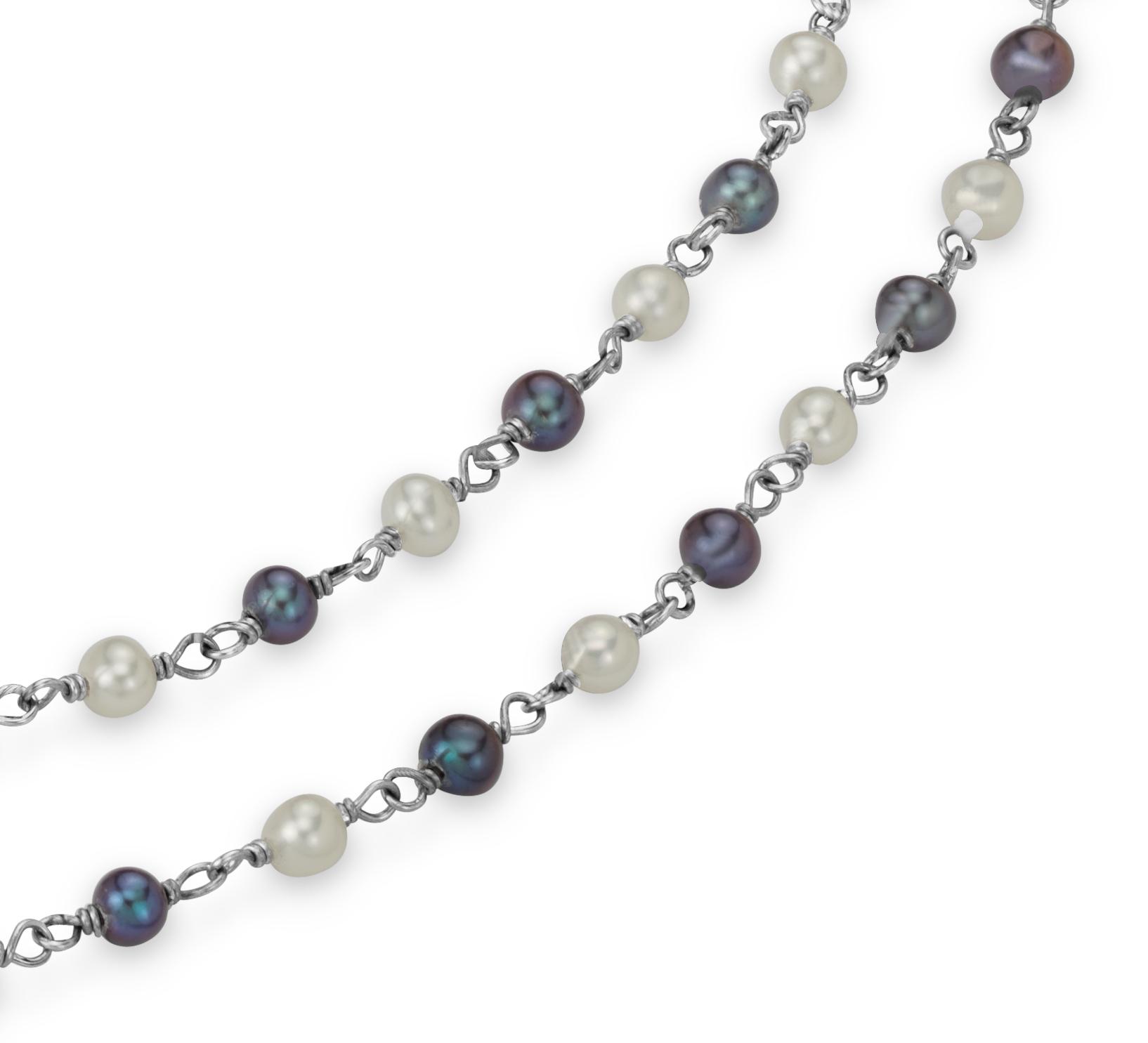 Collar con perlas blancas y negras cultivadas de agua dulce en plata de ley - 36