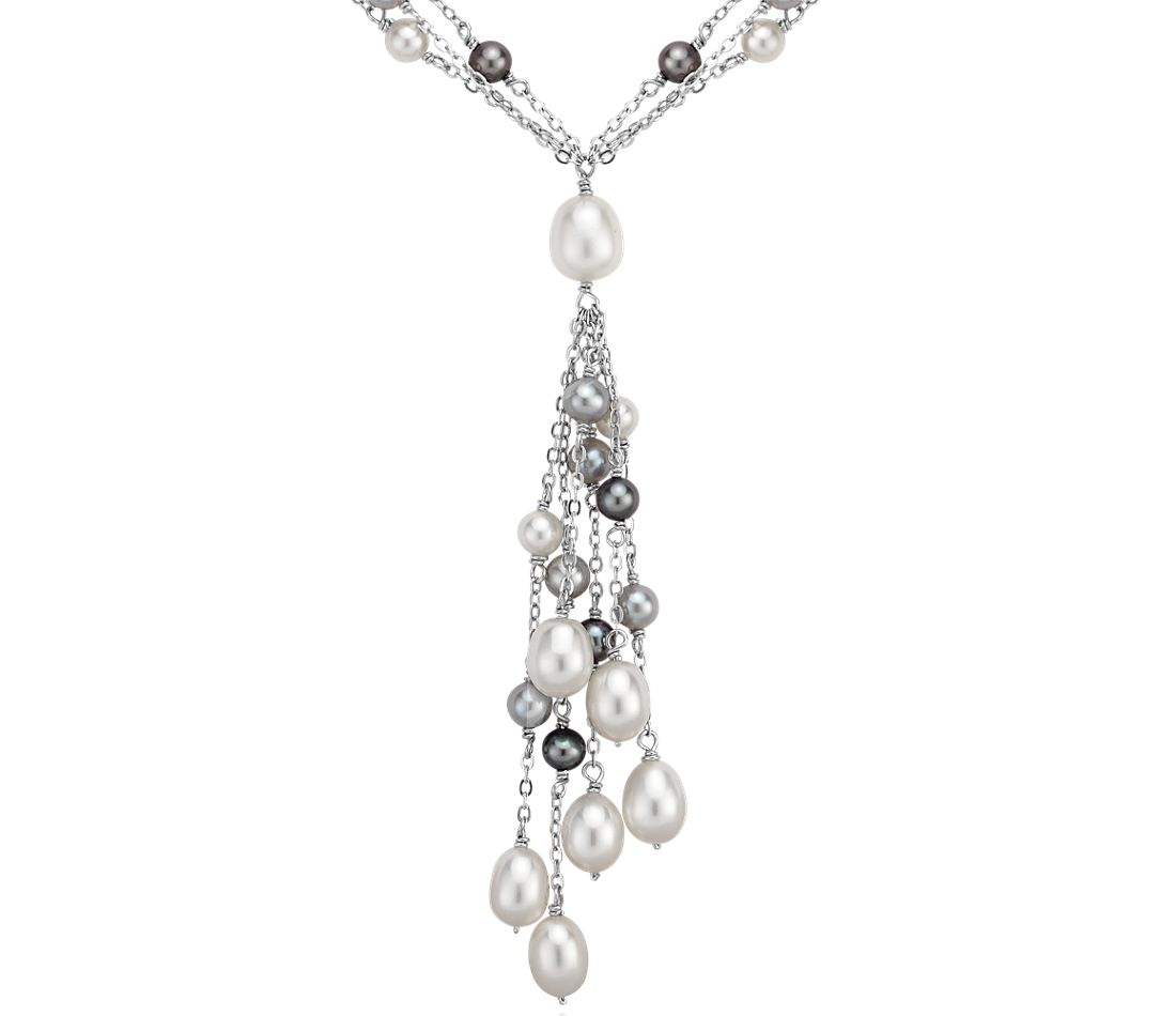 Black and White Freshwater Cultured Triple Strand Pearl Necklace in Sterling Silver