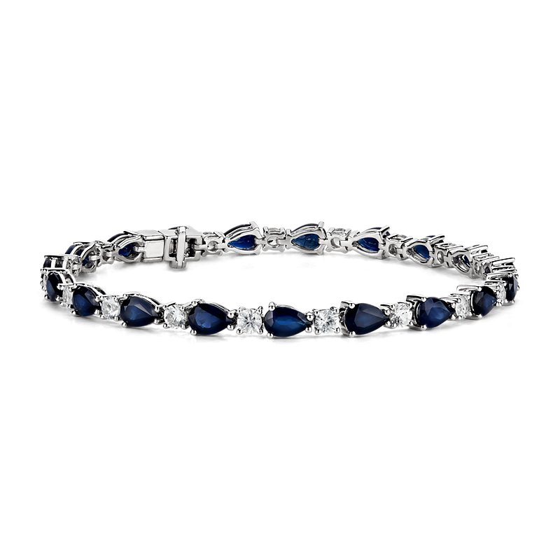 Blue and White Sapphire Bracelet in 14K White Gold