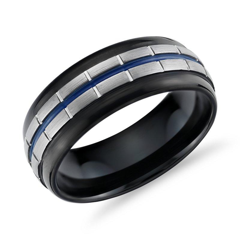 Blue Enamel Link Wedding Band in Tungsten (8.5mm)