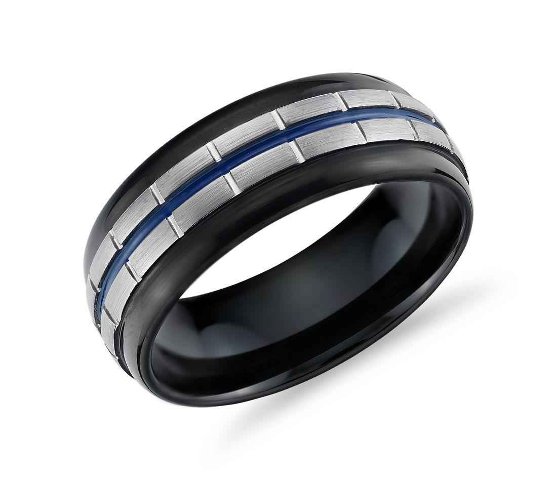 Blue Enamel Link Wedding Band in Tungsten (8.5mm)