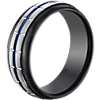 鎢藍色搪瓷鏈狀結婚戒指( 8.5毫米)